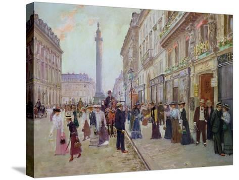 Workers Leaving the Maison Paquin, in the Rue de La Paix, circa 1900-Jean B?raud-Stretched Canvas Print