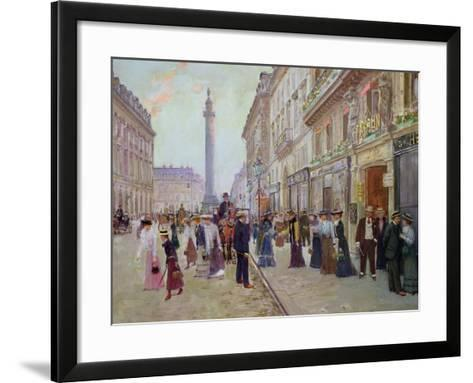 Workers Leaving the Maison Paquin, in the Rue de La Paix, circa 1900-Jean B?raud-Framed Art Print
