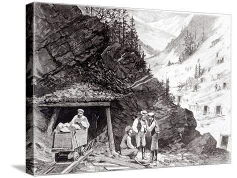 Gold and Silver Mining, Colorado - a Honey-Combed Mountain, from Drawing by Frenzeny and Tavernier--Stretched Canvas Print