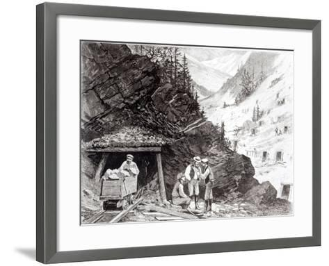 Gold and Silver Mining, Colorado - a Honey-Combed Mountain, from Drawing by Frenzeny and Tavernier--Framed Art Print