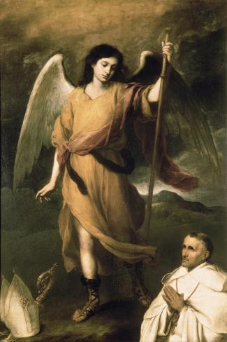 Archangel Raphael with Bishop Domonte-Bartolome Esteban Murillo-Stretched Canvas Print