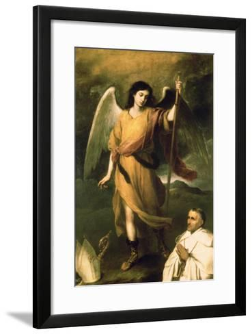 Archangel Raphael with Bishop Domonte-Bartolome Esteban Murillo-Framed Art Print