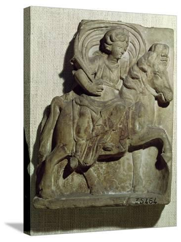 Relief of Epona, Gaulish Goddess, Protector of Horses, Riders and Travellers 50 BC-400 AD--Stretched Canvas Print