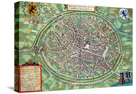 "Town Plan of Bruges, from ""Civitates Orbis Terrarum"" by Georg Braun and Frans Hogenburg, circa 1572-Joris Hoefnagel-Stretched Canvas Print"