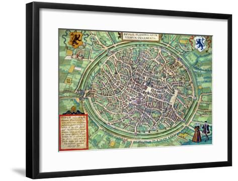"Town Plan of Bruges, from ""Civitates Orbis Terrarum"" by Georg Braun and Frans Hogenburg, circa 1572-Joris Hoefnagel-Framed Art Print"