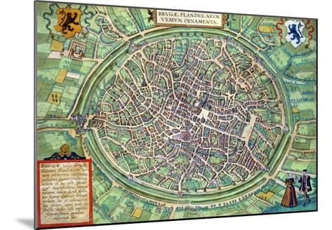 "Town Plan of Bruges, from ""Civitates Orbis Terrarum"" by Georg Braun and Frans Hogenburg, circa 1572-Joris Hoefnagel-Mounted Giclee Print"