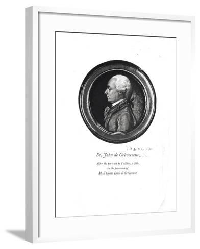 """Michel-Guillaume-Jean de Crevecoeur Frontispiece of His """"Sketches of 18th Century America""""- Valliere-Framed Art Print"""