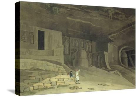 """Part of the Kanaree Caves, Salsette, from """"Oriental Scenery: Twenty Four Views in Hindoostan"""", 1800-Thomas & William Daniell-Stretched Canvas Print"""