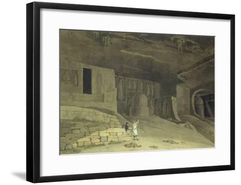 """Part of the Kanaree Caves, Salsette, from """"Oriental Scenery: Twenty Four Views in Hindoostan"""", 1800-Thomas & William Daniell-Framed Art Print"""