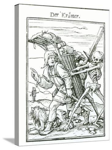 """Death and the Pedlar, from """"The Dance of Death"""", circa 1538-Hans Holbein the Younger-Stretched Canvas Print"""