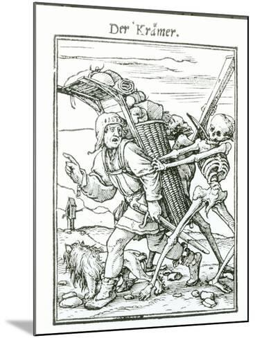 """Death and the Pedlar, from """"The Dance of Death"""", circa 1538-Hans Holbein the Younger-Mounted Giclee Print"""