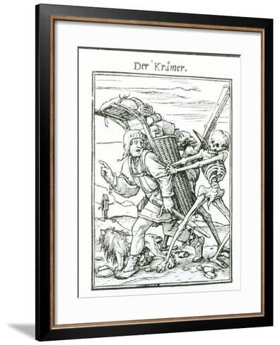 """Death and the Pedlar, from """"The Dance of Death"""", circa 1538-Hans Holbein the Younger-Framed Art Print"""