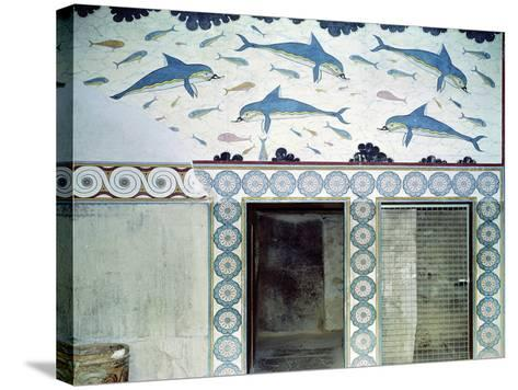 The Dolphin Frescoes in the Queen's Bathroom, Palace of Minos, 1600-1400 BC- Minoan-Stretched Canvas Print