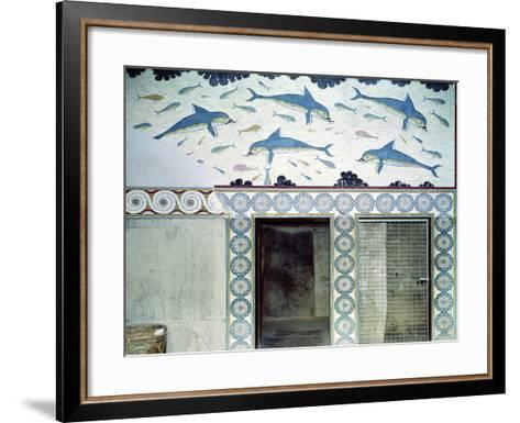 The Dolphin Frescoes in the Queen's Bathroom, Palace of Minos, 1600-1400 BC- Minoan-Framed Art Print