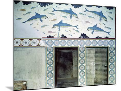 The Dolphin Frescoes in the Queen's Bathroom, Palace of Minos, 1600-1400 BC- Minoan-Mounted Giclee Print