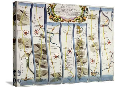 """Road from Whitby to Durham, from John Ogilby's """"Britannia"""", Pub. 1675, London--Stretched Canvas Print"""