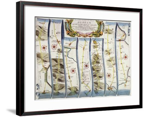 "Road from Whitby to Durham, from John Ogilby's ""Britannia"", Pub. 1675, London--Framed Art Print"