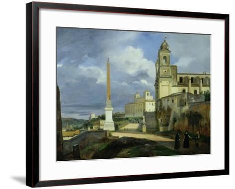 Trinita Dei Monti and the Villa Medici, Rome, 1808-Francois-Marius Granet-Framed Art Print