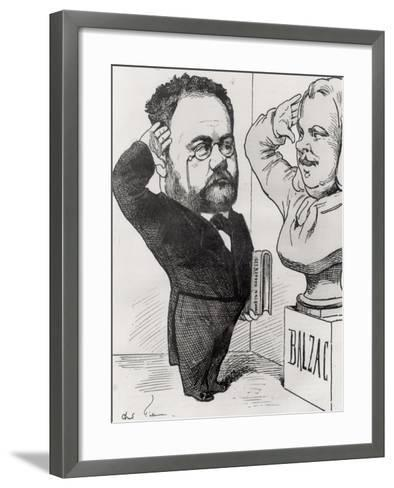 Caricature of Emile Zola Saluting a Bust of Honore de Balzac 1878-Andr? Gill-Framed Art Print