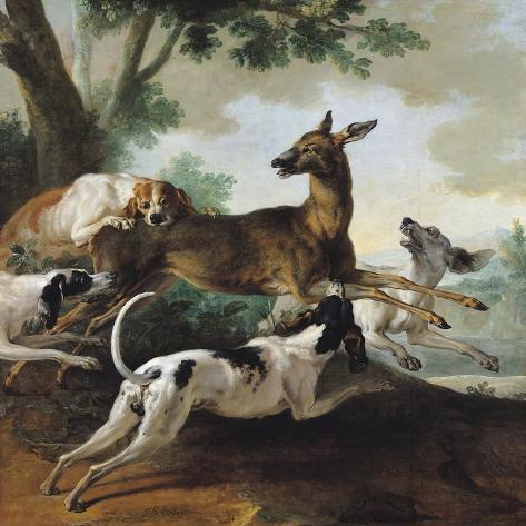 A Deer Chased by Dogs, 1725-Jean-Baptiste Oudry-Stretched Canvas Print