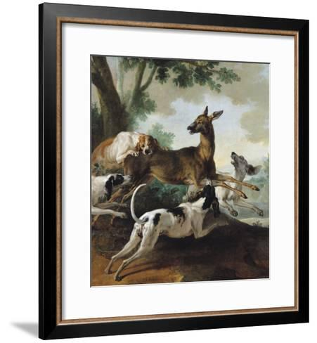 A Deer Chased by Dogs, 1725-Jean-Baptiste Oudry-Framed Art Print