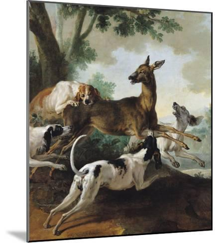 A Deer Chased by Dogs, 1725-Jean-Baptiste Oudry-Mounted Giclee Print