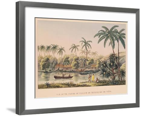 """Village of Matavae, Tahiti, from """"Voyage Autour Du Monde Sur La Corvette Coquille""""--Framed Art Print"""