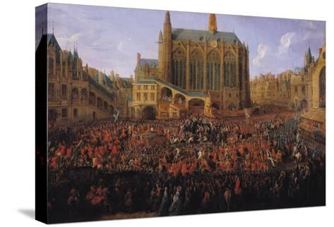 """The Departure of Louis XV from Sainte-Chapelle after the """"Lit de Justice"""" 12th September 1715, 1735-Pierre-Denis Martin-Stretched Canvas Print"""