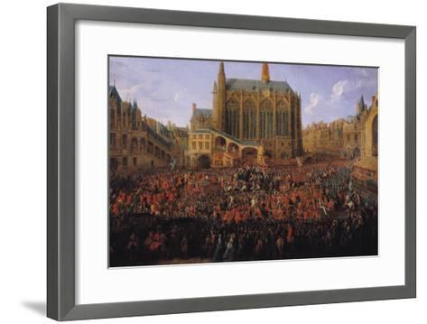 """The Departure of Louis XV from Sainte-Chapelle after the """"Lit de Justice"""" 12th September 1715, 1735-Pierre-Denis Martin-Framed Art Print"""