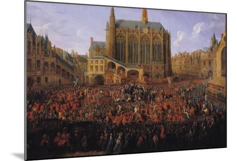 """The Departure of Louis XV from Sainte-Chapelle after the """"Lit de Justice"""" 12th September 1715, 1735-Pierre-Denis Martin-Mounted Giclee Print"""