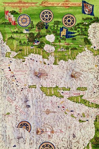 """Map of Peru, from """"Cosmographie Universelle"""", 1555-Guillaume Le Testu-Stretched Canvas Print"""