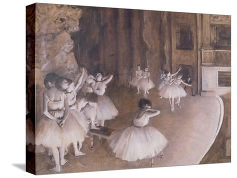 Ballet Rehearsal on the Stage, 1874-Edgar Degas-Stretched Canvas Print