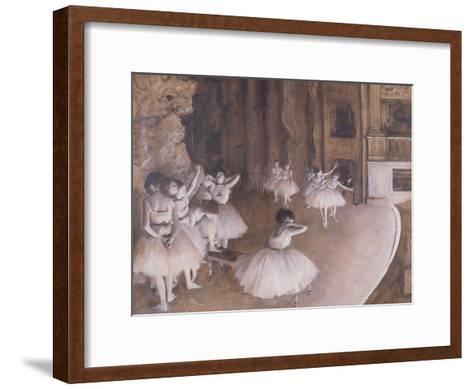 Ballet Rehearsal on the Stage, 1874-Edgar Degas-Framed Art Print
