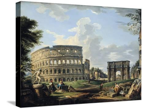 The Colosseum and the Arch of Constantine-Giovanni Paolo Pannini-Stretched Canvas Print