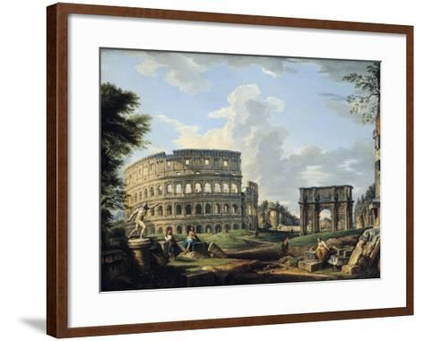 The Colosseum and the Arch of Constantine-Giovanni Paolo Pannini-Framed Art Print