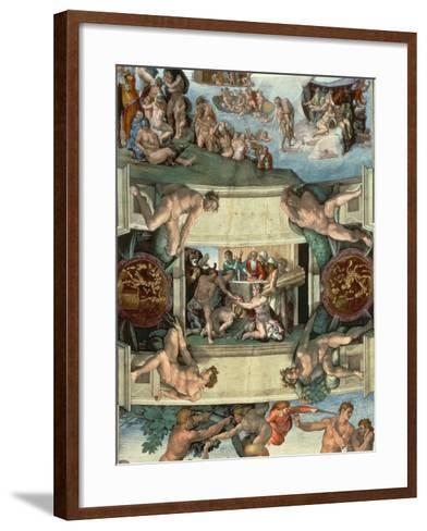 Sistine Chapel Ceiling : the Sacrifice of Noah, 1508-10-Michelangelo Buonarroti-Framed Art Print