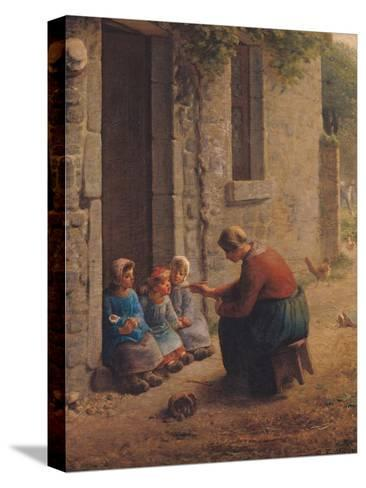 Feeding the Young, 1850-Jean-Fran?ois Millet-Stretched Canvas Print