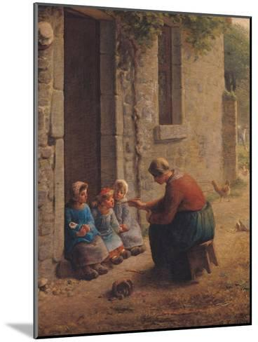 Feeding the Young, 1850-Jean-Fran?ois Millet-Mounted Giclee Print