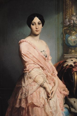 Portrait of Madame F, 1850-51-Louis Edouard Dubufe-Stretched Canvas Print