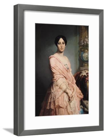 Portrait of Madame F, 1850-51-Louis Edouard Dubufe-Framed Art Print