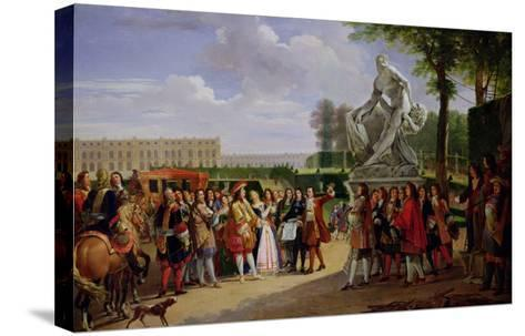 """Louis XIV Dedicating Puget's """"Milo of Crotona"""" in the Gardens at Versailles, 1819-Anicet-Charles Lemonnier-Stretched Canvas Print"""