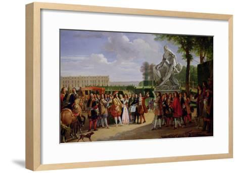 "Louis XIV Dedicating Puget's ""Milo of Crotona"" in the Gardens at Versailles, 1819-Anicet-Charles Lemonnier-Framed Art Print"