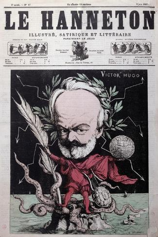 """Caricature of Victor Hugo as Zeus in Exile on Guernsey from the Front Cover Of""""Le Hanneton""""-G^ Deloyoti-Stretched Canvas Print"""