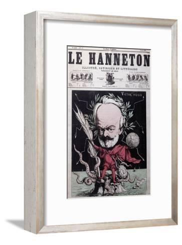 """Caricature of Victor Hugo as Zeus in Exile on Guernsey from the Front Cover Of""""Le Hanneton""""-G^ Deloyoti-Framed Art Print"""
