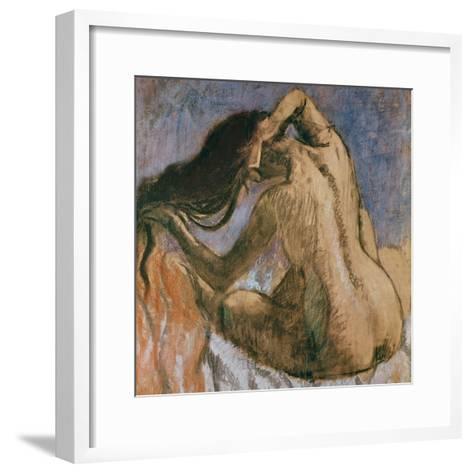 Woman Combing Her Hair, 1905-10-Edgar Degas-Framed Art Print