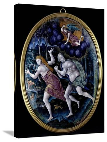 Oval Plaque Depicting Adam and Eve Expelled from Paradise, Limousin--Stretched Canvas Print