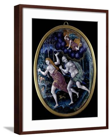 Oval Plaque Depicting Adam and Eve Expelled from Paradise, Limousin--Framed Art Print