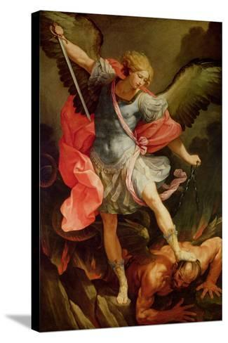 The Archangel Michael Defeating Satan-Guido Reni-Stretched Canvas Print