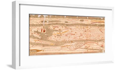 Detail of the a Segment of the Peutinger Table, Facsimile of the 3rd Century Original--Framed Art Print