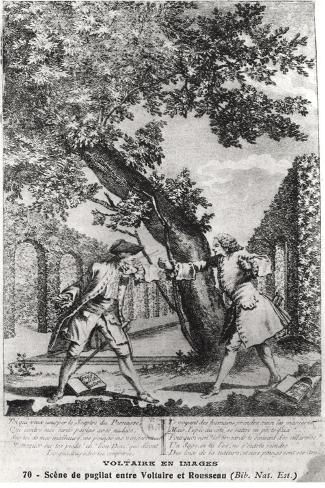 Argument Between Jean-Jacques Rousseau and Voltaire--Stretched Canvas Print